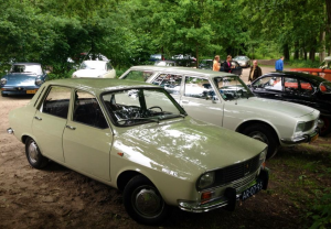 Klassieke beige Renault staat naaste en witte Peugeot