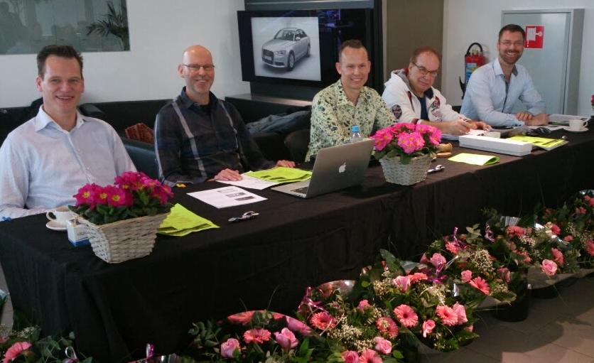GCCC-bestuur anno 2014: met Marchel (evenementen), Marcel (penningmeester), Mark (voorzitter), Con (secretaris) en Hans (eindredacteur magazine)